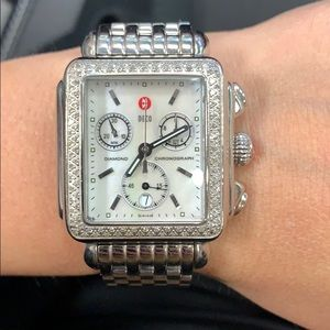 Michele Steel Diamond Deco Watch